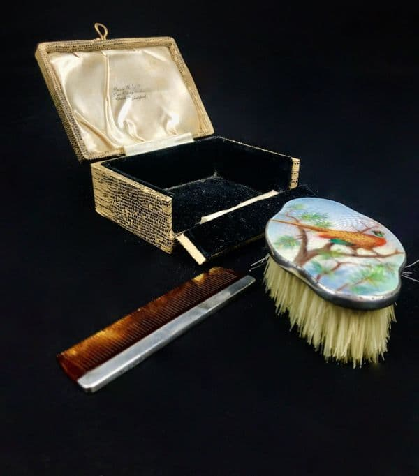 Antique Silver And Enamel Grooming Set / Thomas Russells LTD Liverpool